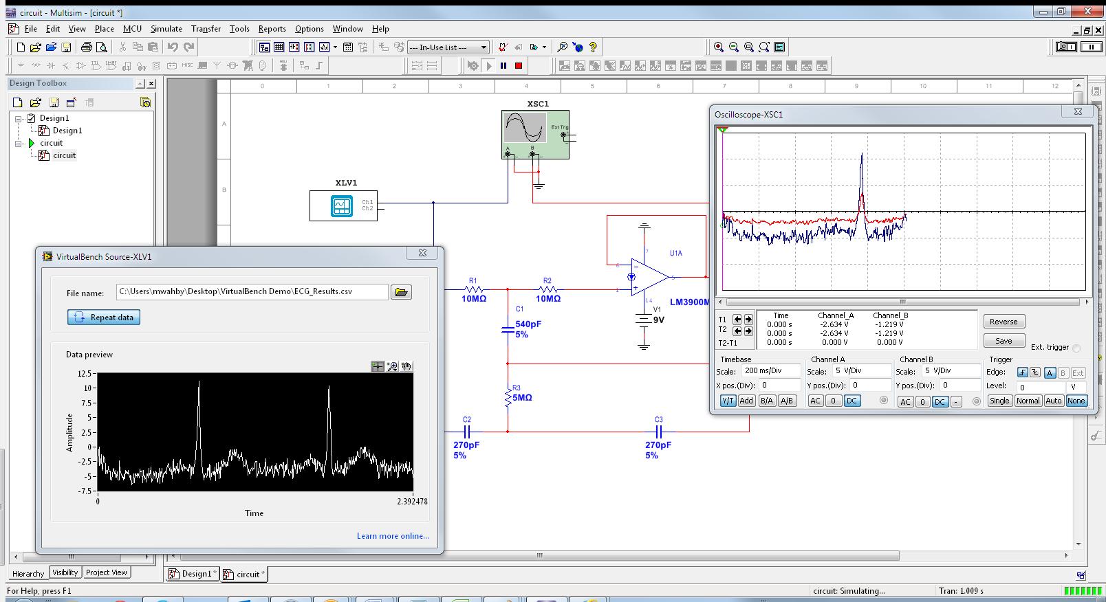 Importing Virtualbench Measured Data Into A Multisim Circuit Virtual Simulator Simulation National Instruments