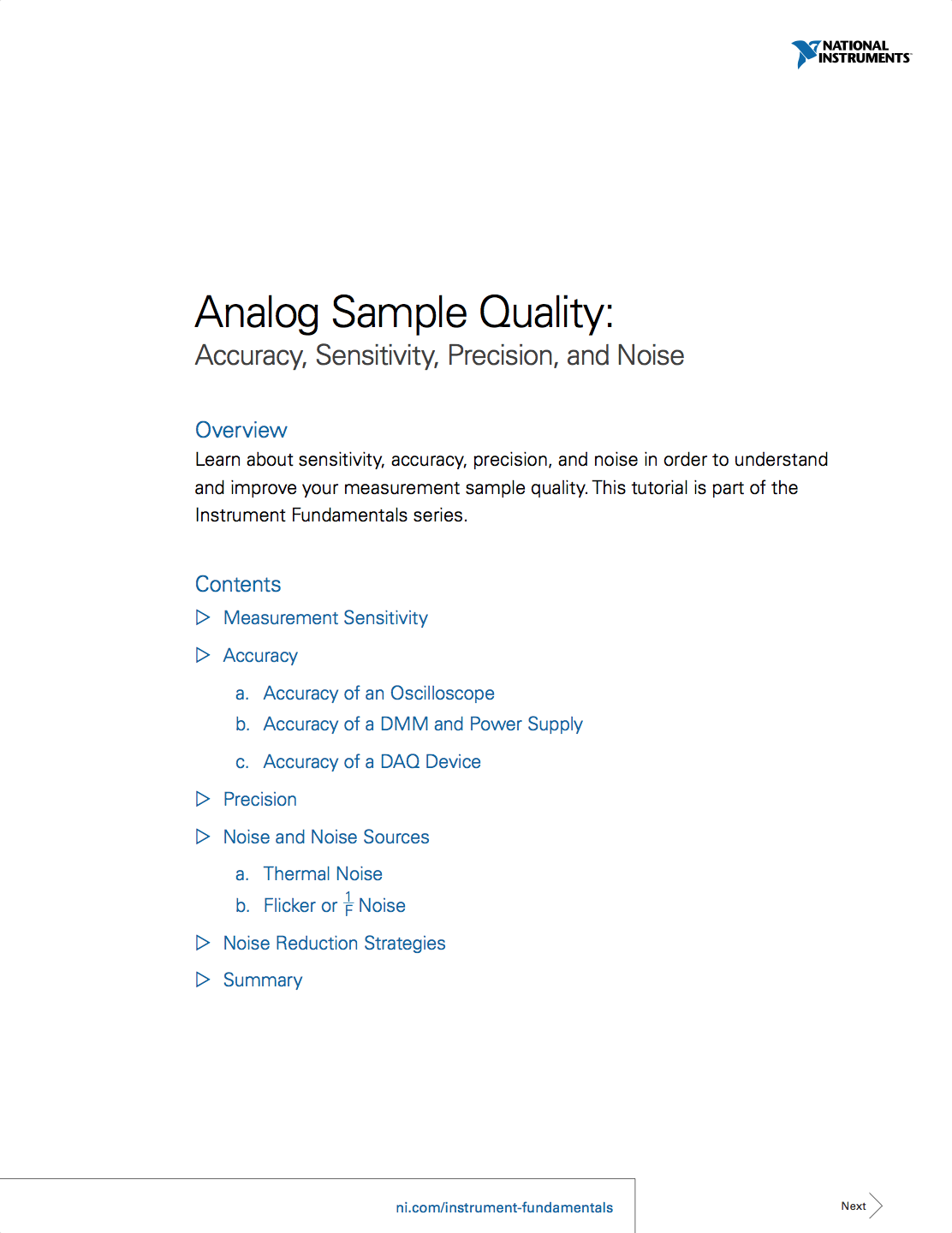 Analog Sample Quality Accuracy Sensitivity Precision And Noise