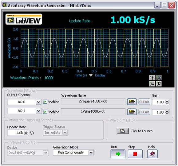 Using myDAQ with the NI ELVISmx Arbitrary Waveform Generator Soft ...