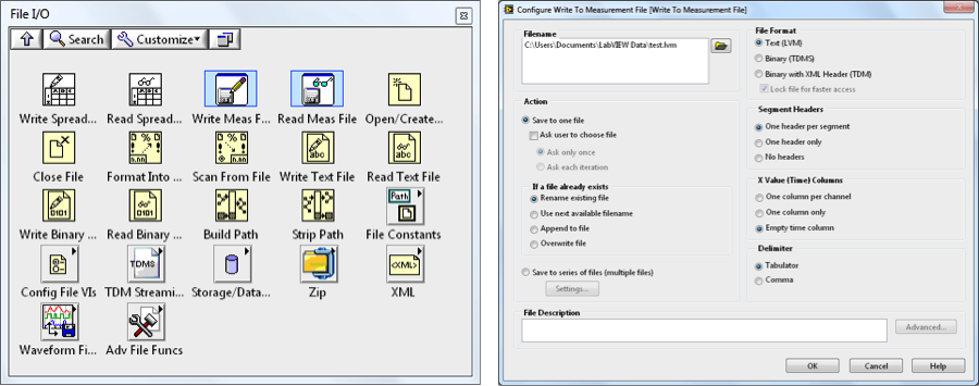 With LabVIEW, choose from many interfaces for reading and writing files, depending on your needs