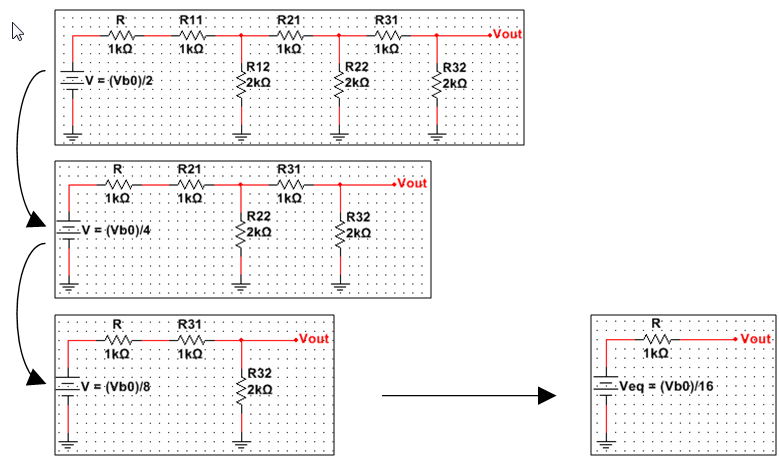 Digital to analog converter example circuit with analog discovery 2 enlarge image figure a2 steps of the application of thvenin theorem to the leftmost rung ccuart Image collections