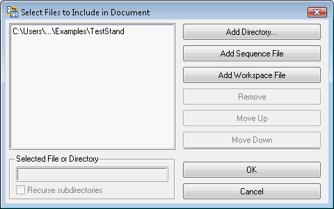 When adding an NI TestStand document to your NI Requirements Gateway  project, the Select Files to Include in Document dialog box allows you to  specify ...