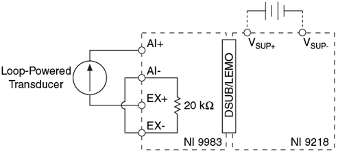 Connection Diagram for Loop Powered Sensors with the NI 9218 ... on
