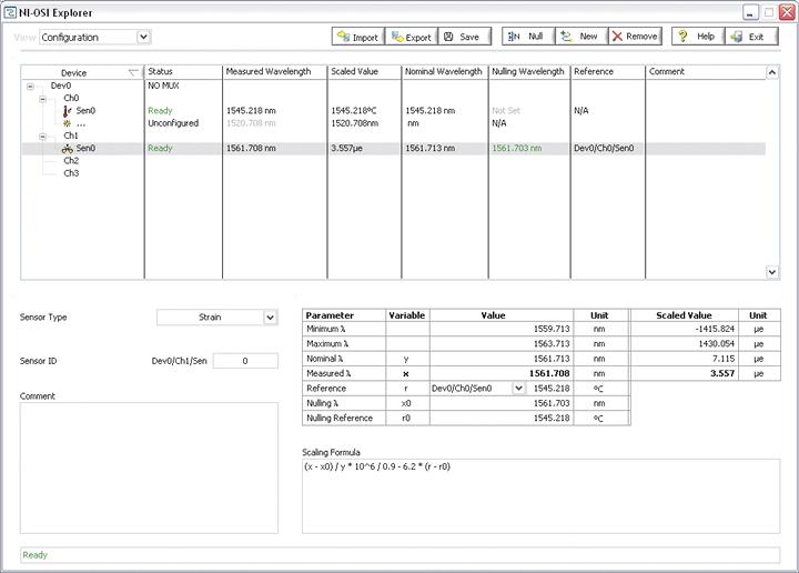 NI PXIe-4844 Optical Sensor Interrogator Scaling Formulas for FBG