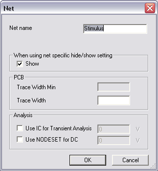 Net Properties Dialog Box