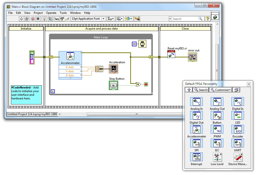required and optional software to program ni myrio