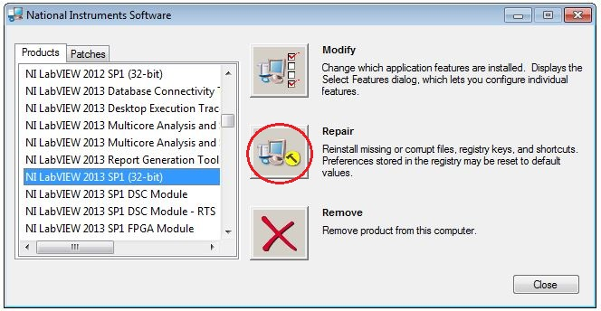 Uninstall or Repair National Instruments Software or Drivers