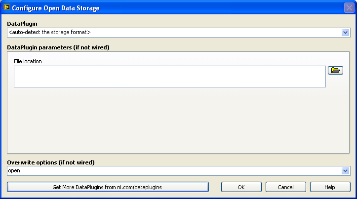 Configure Open Data Storage Dialog