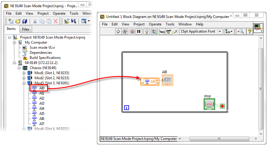 Save your VI and click the Run Arrow from your front panel. You are now  accessing I/O from your NI 9149 chassis across the network from your  development PC ...