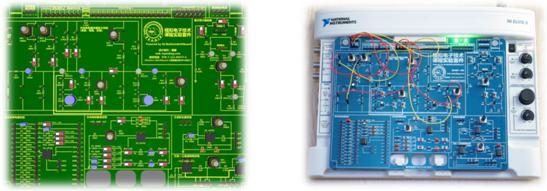 基于NI ELVIS平台的开放性架构,借助ELVIS 插入模块套件提供的插入板的几何尺寸和接口定义,可自行根据课程实验需求设计开发相应的实验模块。 由NI ELVIS、NI Multisim和NI LabVIEW组成的电子学教育平台(NI Electronics Education Platform),为上述自定义实验板开发提供了完整的思路和工具:基于电路理论知识,利用Multisim实现原理图输入和仿真,在ELVIS平台上进行原型,在Multisim或LabVIEW中比较、分析理论仿真和实际测量的结果,