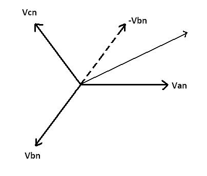 triangle with measurements calculating line to line voltages from line to neutral