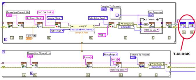Designing semiconductor ate with the ni pxie 6556 digital ate module labview block diagram showing t clock integration with two modules ccuart Images