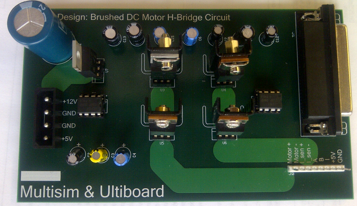 Brushed Dc Motor H Bridge Control Pcb Rapid Prototyping Using Ni Circuit Project Simulation Electronic Circuits Electronics Figure 9 Fabricated Board By