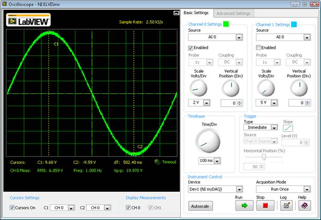 Using myDAQ with the NI ELVISmx Oscilloscope Soft Front Panel
