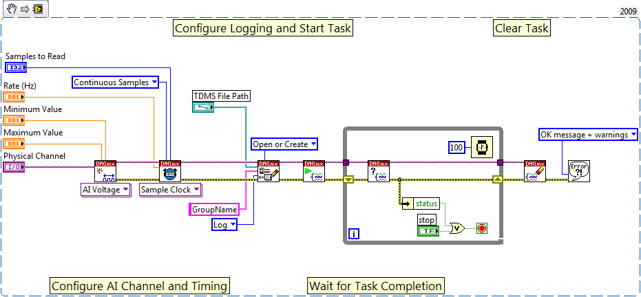 Using the NI-DAQmx Configure Logging VI, you can stream data to disk via the TDMS file format with one small extra step