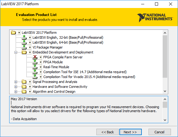 Installing LabVIEW, LabVIEW Real-Time and FPGA Modules, and