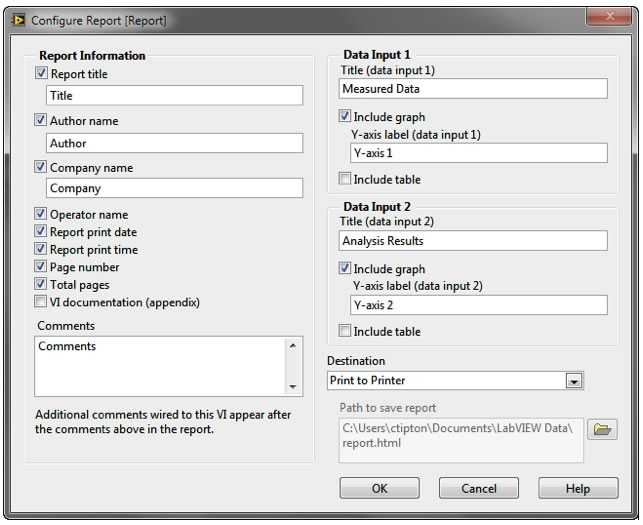 You can configure professional reports using the Report Express VI in LabVIEW.