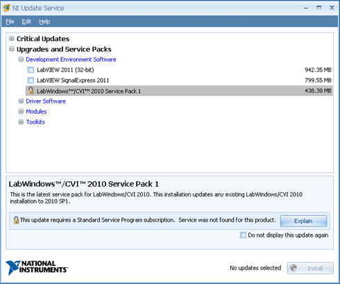 National Instruments Update Service Message Service Expired Or Not Found National Instruments